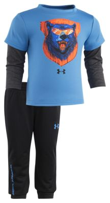 Under Armour Bear Illustrated Layered Shirt and Pants Set for Babies - Mako Blue - 24 Months