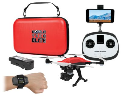 World Tech Toys Elite Recon Follow Me Live View 4K Camera RC Drone with Smart Watch by