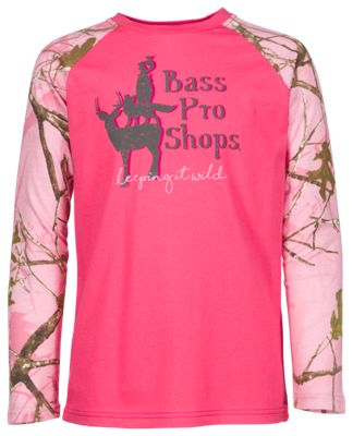 Bass Pro Shops Keeping It Wild Long-Sleeve Shirt for Kids - Hot Pink/True Timber Conceal Pink - M