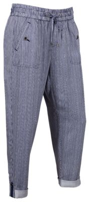 Natural Reflections Rayon Twill Drapey Pants for Ladies - Navy Stripe - XS