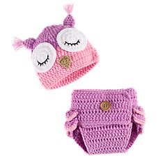 Bass Pro Shops Crochet Owl Hat and Diaper Cover Set for Babies