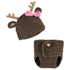 Bass Pro Shops Crochet Deer Hat with Bow and Diaper Cover Set for Babies