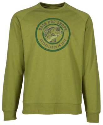 Bass Pro Shops French Terry Round Logo Crew Sweatshirt for Men - Olive - M