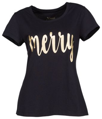 Natural Reflections Merry Scoop Neck T-Shirt for Ladies - Anthracite - 2X