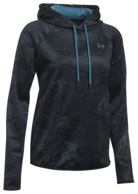 Under Armour Icon Camo Hoodie for Ladies - Black Tonal Reaper/Bayou Blue - L thumbnail