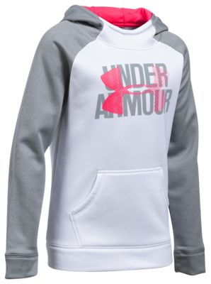 Under Armour Fleece Big Logo Hoodie for Girls - White/Steel Light Heather - L