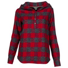 Natural Reflections Flannel Henley Hoodie for Ladies