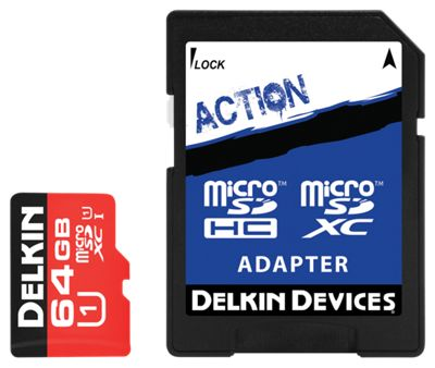 Delkin Action Hyperspeed microSD Memory Card - 64G