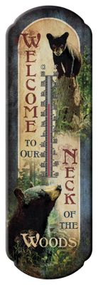 Welcome to our Neck of the Woods Tin Thermometer