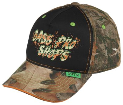 Bass Pro Shops Black Front Camo Cap for Kids - Black/TrueTimber Kanati thumbnail