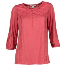 Bob Timberlake Mixed Fabric Henley for Ladies