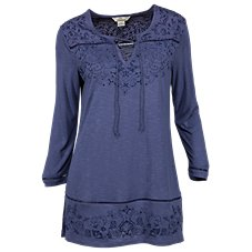 Bob Timberlake Embroidered Lace-Up Notch-Neck Tunic for Ladies