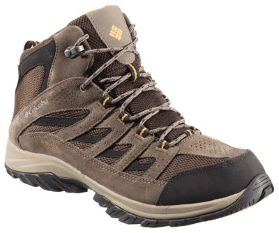 Columbia Crestwood Mid Waterproof Hiking Boots for Men - Cordovan/Squash - 10.5M