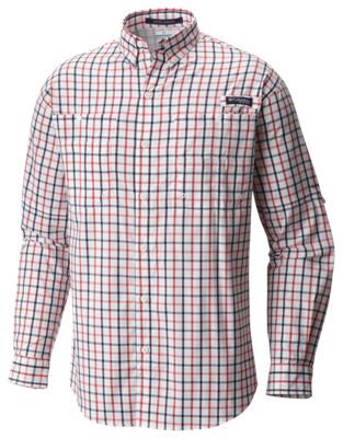 04228988 Columbia PFG Super Tamiami Long Sleeve Shirt for Men Sunset Red Large Check  2XL