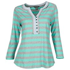 Natural Reflections Contrasting Stripe Henley for Ladies
