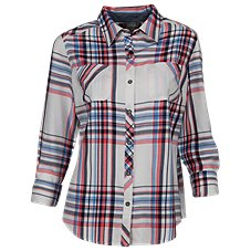 Natural Reflections Plaid Roll-Sleeve Shirt for Ladies