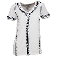 Natural Reflections Embroidered V-Neck Top for Ladies