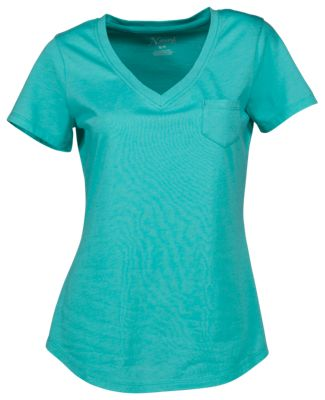 de8337d83996 Natural Reflections Everyday V Neck T Shirt for Ladies Pool Blue M