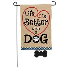 Evergreen Life is Better with a Dog Burlap Garden Flag