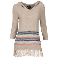 Natural Reflections Fringe Sweater Hoodie for Ladies