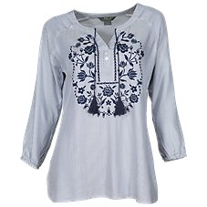 Natural Reflections Embroidered Front Stripe Top for Ladies