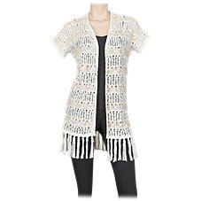 Natural Reflections Stripe Fringe Cardigan for Ladies