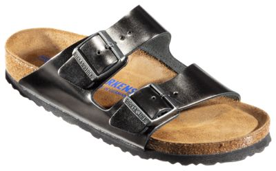 Birkenstock Arizona Soft Footbed Leather Sandals for Ladies Metallic Anthracite 41M