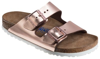 Birkenstock Arizona Soft Footbed Leather Sandals for Ladies Metallic Copper 42M
