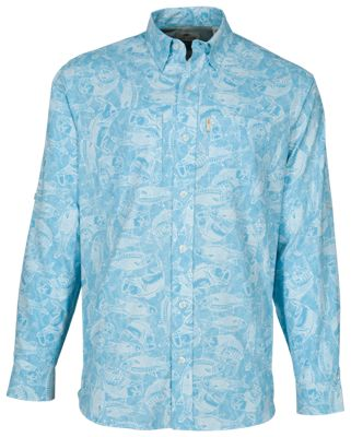 Bob Timberlake Yarn-Dyed Long-Sleeve Shirt for Men – Fish Print – 2XL
