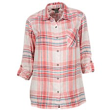 Natural Reflections Plaid Double Knit Button-Down Shirt for Ladies