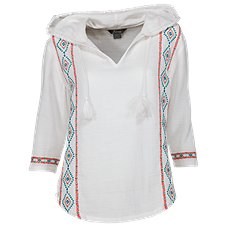 Natural Reflections Embroidered Hooded Shirt for Ladies