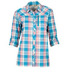 Ascend Roll-Sleeve Tech Plaid Shirt for Ladies