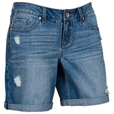 Natural Reflections Destructed Denim Shorts for Ladies