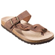 White Mountain Crawford Leather Toe Loop Sandals for Ladies