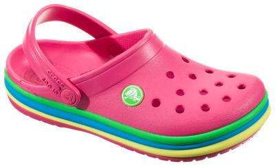 16fad7e8390e15 Crocs Rainbow Band Clog for Toddlers Paradise Pink 9 Toddler