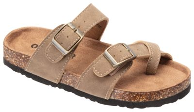 RedHead Bork Double Buckle Toe Loop Sandals for Kids - Taupe - 4 Kids