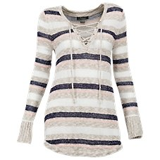 Natural Reflections Stripe Lace-Up Sweater for Ladies
