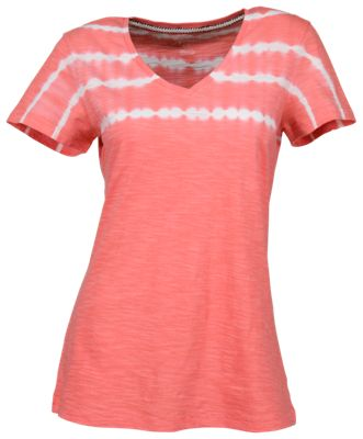 Natural Reflections Tie-Dye V-Neck T-Shirt for Ladies - Shell Pink - 1X