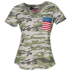 Natural Reflections Camo Flag T-Shirt for Ladies