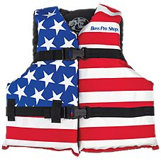 Bass Pro Shops American Flag Recreational Life Jacket for Kids
