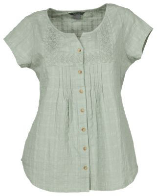 Natural Reflections Windowpane Button Down Shirt for Ladies Seagrass L 32fed29b5