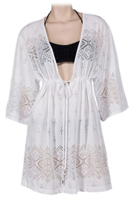 266bda3af2696 Wearabouts by Dotti Gypsy Dance Kimono Swimsuit Cover Up for Ladies White L