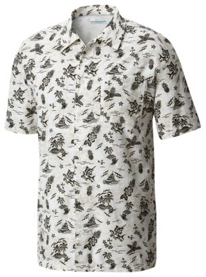 5a298a5264d Columbia PFG Trollers Best Fish Ahoy Print Shirt for Men Light Cloud Fish  Ahoy L