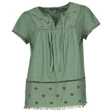 Natural Reflections Eyelet Trim Notch-Neck Top for Ladies