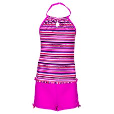 Free Country Crochet Halter Tankini with Shorts for Girls