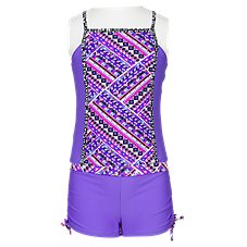 Free Country Beach Blanket Style Halter Tankini with Shorts for Girls