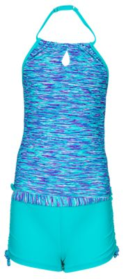 Free Country Ocean Speaks Halter Tankini with Shorts for Girls - Jade - 6x