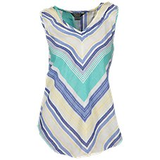 Natural Reflections Chevron Stripe Sleeveless V-Neck Top for Ladies