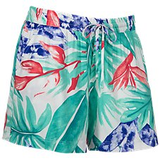 Natural Reflections Tropical Print Drawstring Shorts for Ladies