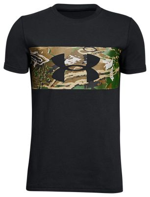 Under Armour Banded Camo T-Shirt for Kids – Black/Ridge Reaper Camo Forest – L